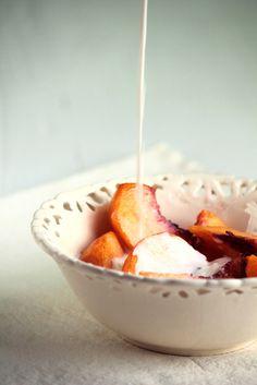 Peaches with Heavy Cream & Cinnamon