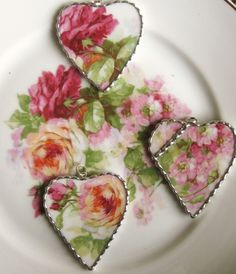 Vintage Recycled Shabby Broken China - Roses and Apple Blossoms - Heart Pendant - Necklace