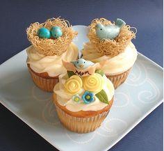 Cupcakes com Nunhos para Festa no Tema Passarinhos