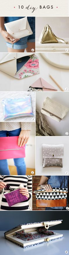 10 DIY bags!  Oh the lovely things: 60 DIY Accessories- Last Minute Gifts For Fashionistas diy gift bag ideas, diy bags and purses, 10 diy bags, bags diy, accessories diy, bag diy, diy accessories, sew accessories, last minute gifts