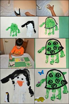 Handprint Turtle & Handprint Penguin -- finger painting / kindergarten program! The penguin is perfect for Tacky and the turtle is great for an ereader book I have.
