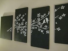 I love this idea! Stick decals onto canvases, paint the whole thing and then remove the stickers to reveal the image.