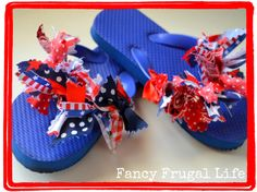 4th of July fabric scrap flip flops & flowers