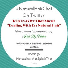 """Join me on Sunday 10/26 at 5:30 PM CENTRAL on twitter for my weekly twitter chat, #NaturalHairChat! This week we will be chatting about """"Dealing With Dry #NaturalHair"""" and how to fix it! This event is sponsored by @koilsbynature so there will be giveaways! RSVP at NaturalHairChat.SplashThat.com or visit the link in my BIO! ONLY those who RSVP are eligible to win prizes! #NaturalHair #strawberricurls #koilsbynature"""