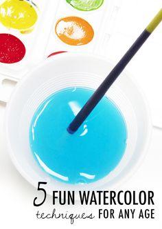 alisaburke: 5 FUN watercolor techniques for any age