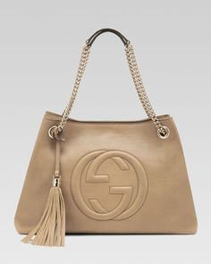 If I ever go back to labels...Gucci is first in line!  Soho Leather Medium Chain-Strap Tote, Cream by Gucci at Neiman Marcus.