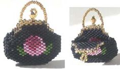 CABBAGE ROSE MINIATURE EVENING PURSE  Pattern at Sova-Enterprises.com Lots of free beading patterns and tutorials are available!