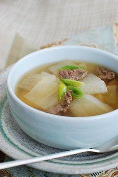 Korean Radish Soup (Mu Guk/Moo Guk). Ingredients: radish, scallions, beef, garlic, sesame oil, soy sauce, salt, pepper. Recipe on Korean Bapsang.