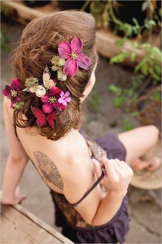 wedding hair with butterflies