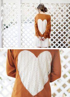 DIY Lace Heart Cardigan #fashion #style