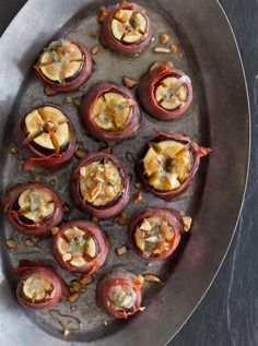 Blue cheese stuffed figs wrapped in prosciutto.