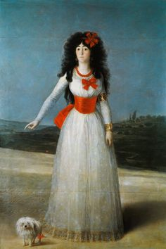 Francisco José de Goya - The duchess of Alba with her Maltese dog.    Now we go to 18th century Spain and take a look at famous Maltese there. Here we have the (in)famous Duchess of Alba (yes the one who posed for that famous painting without clothes from Francisco de Goya 1746 - 1826 ) and he is the Author of this painting too. So this little Maltese for sure had many stories to tell about his life with his rebellious Lady!