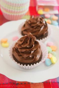 One Bowl Chocolate Cupcakes for Two. Click image for recipe. #cupcakes #cupcakeideas #cupcakerecipes #food #yummy #sweet #delicious #cupcake