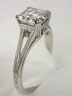 asscher cut diamond in art deco ring setting