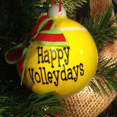 Happy Volleydays Tennis Ball Ornament - Front