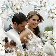 White wedding day photo collage. Click to add your own photos using Imikimi, a free photo site.   #wedding #weddingday #doves #white #bride #groom #kisses
