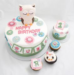 baby girl birthday cakes | The Crimson Cake Blog: Baby Girl Owl Cake and Cupcakes