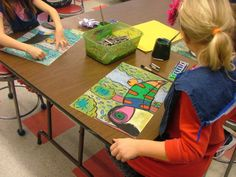 Art with Mrs. Seitz:  Henry  Rousseau jungle paintings/oil pastel (stumbling)