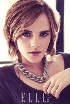 Emma Watson with angled bob. Love her hair.