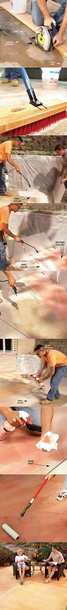 Learn how to renew your concrete patio at http://www.familyhandyman.com/DIY-Projects/Outdoor-Projects/Patio/Patio-Improvements/renew-your-concrete-patio/View-All