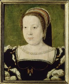 """ca. 1533 Catherine de Medicis, reine de France as when she arrived in France by Corneille de Lyon studio                      This is a portrait by Corneille de Lyon of Catherine de Medici wearing black and white dress and a pink and black French hood.     This is part of her Wikipedia article;  """"...Catherine was not destined to be a beauty. On her visit to Rome, the Venetian envoy described her as """"small of stature, and thin, and without delicate features, but having the protruding eyes pecu..."""