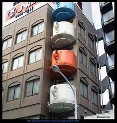 Tea Cup balconies in Japan. Awesome!