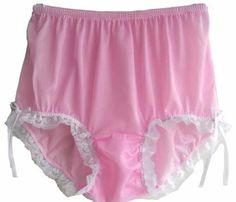 CLICK IMAGE TWICE FOR PRICING AND INFO :) #women #panties #lingerie #briefpanties #intimates #undergarment see more granny panties at http://zpanties.com/category/panties-categories/granny-panties/ - Handmade Vtg Pink Granny Briefs Panties Silky Nylon Lacy Knickers Underwear XXL Hip 38″ – 42″ « Z Panties