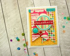 celebrate - Scrapbook.com-  This handmade birthday card uses adhesive foam squares to give it that 3D element.