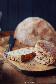 Homemade rustic bread with bacon