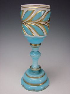 Antique Bohemian Cased/Cut Blue Overlay Glass Chalice Goblet Wine, Shop Rubylane.com