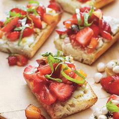 Strawberry Bruschetta | the bite-size pieces are perfect for your Easter luncheon. | SouthernLiving.com