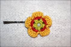 Crochet Flower Hair Pin Yellow Red and Green by CatWomanCrafts, $5.00