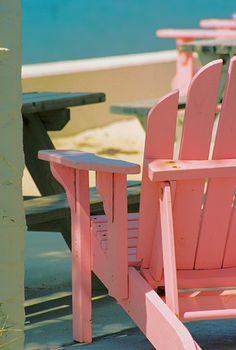 Pink Adirondack chairs!