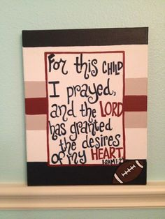 Sports Baby Boy Nursery Christian Bible Verse by TheCrazyPolkaDot, $40.00 'For this child I prayed...'