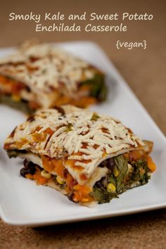 This vegan Smokey Kale and Sweet Potato Enchilada Casserole is lasagna-like and delicious-looking.