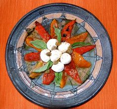 Twice Grilled Red Peppers with mozzarella and caper vinaigrette.