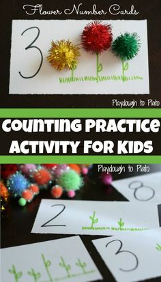 flower number, number cards, number one activities, number of the week preschool, jk math
