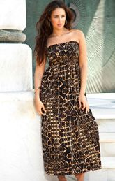 Beach Belle Tribal Brown Plus Size Smocked Maxi Dress