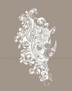 Rhino Art Print 5x7 8x1011x1413x19 please select a by JellyPrints, $12.00