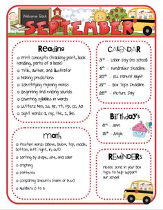 A classroom functions best when everyone is involved--that includes parents especially since they are not in the classroom! Monthly class newsletters that informs parents on what their child will be learning that month in all subjects, calendar dates to be aware of (days off!), birthdays and reminders. Great way to keep parents updated and knowledgeable of what their child is learning!