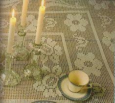 Free Crochet Roses Filet Tablecloth Pattern