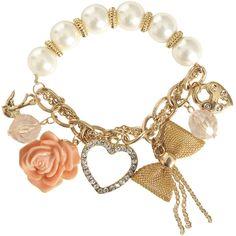 Pearl Rhinestone Charm Bracelet ($7.50) ❤ liked on Polyvore