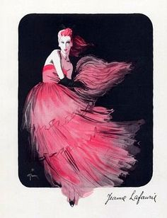 Evening gown by Jeanne Lafaurie, illustrated by Rene Gruau, 1945