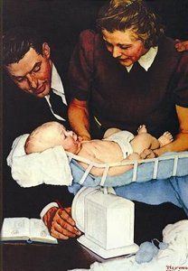 Norman Rockwell: Weighing Baby (in a Collectable Tin)