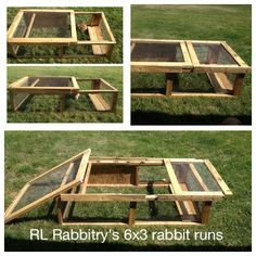 RL Rabbitry's homemade 6x3 ft rabbit runs. These are perfect when we have nice weather because the adult rabbits can stay out for 4+ hours to play while being protected from predators, lightweight enough to be moved to grassier areas once the grass has been eaten, and great for younger kits who are too small to be released into the larger, permanent play pens. • rlrabbitry.com