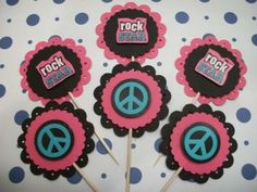 Rock Stars and peace Signs Cupcake toppers / food picks / 12ct by Emanon for $4.80 #zibbet