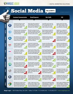 SOCIAL MEDIA -  #Social Media Do's and Dont's Infographic - Tips for customer communication, brand exposure, site traffic, and SEO.