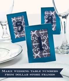 DIY wedding table numbers from dollar frames