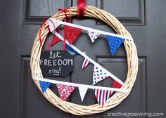 Fourth of July Pennant Wreath from a dollar store wreath and fabric scrap bunting