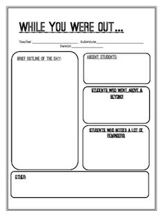 Substitute Teacher Report Form-- good idea to leave for teacher